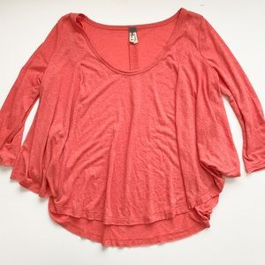 Free People raw hem flowy long sleeve top